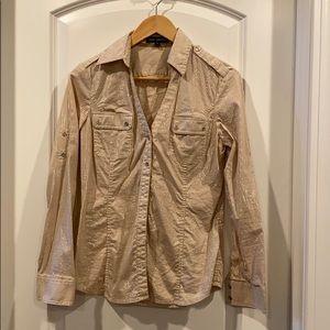 Express button down blouse pin stripe